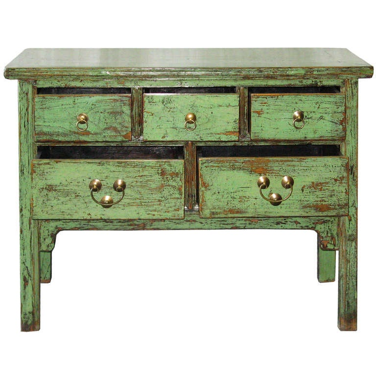 5 Drawer Green Console Table 3