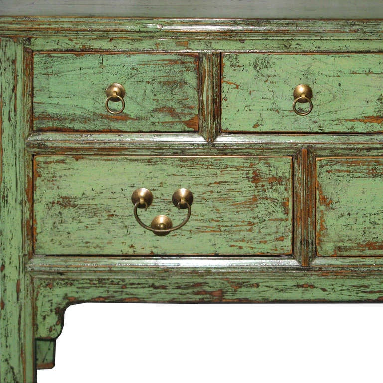 5 Drawer Green Console Table 4