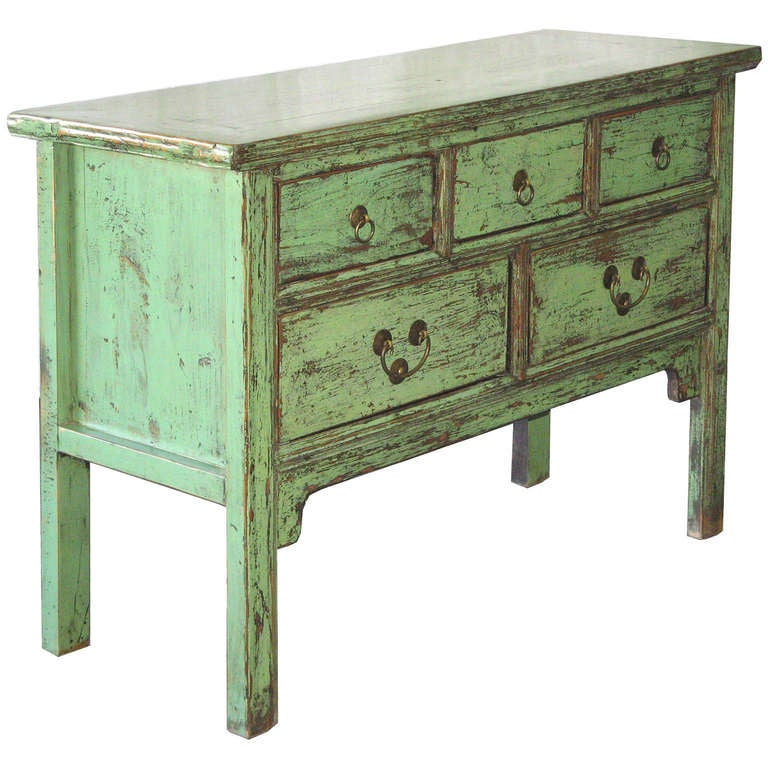 5 Drawer Green Console Table 2