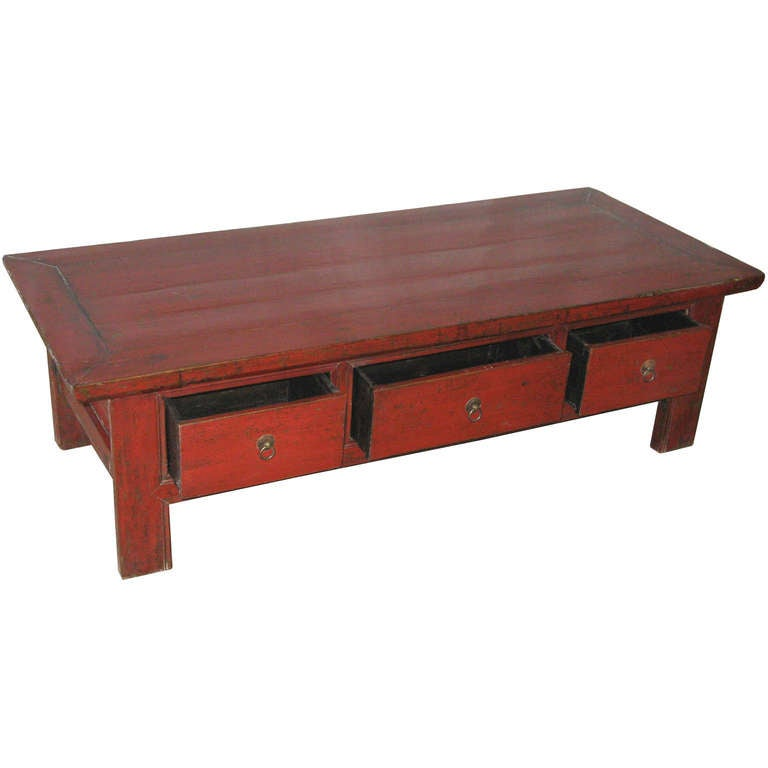 Drawer Red Coffee Table at 1stdibs