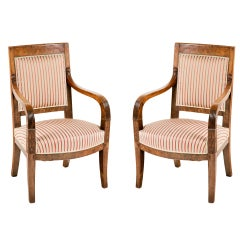 Italian Empire Walnut Chairs, circa 1820