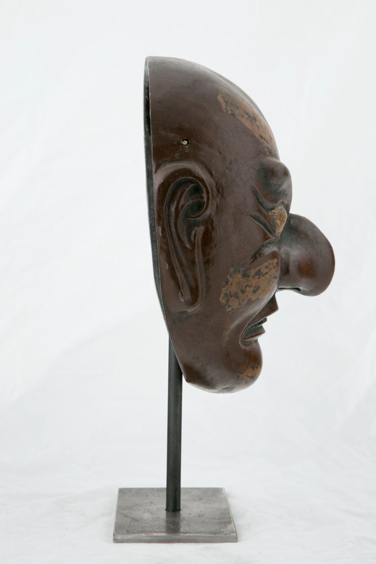 Gilt Taisho Period Noh Mask For Sale