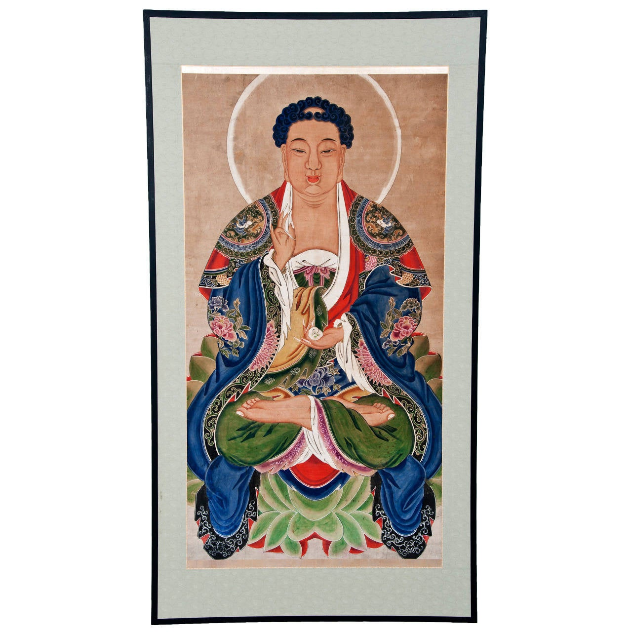 Large mid ching dynasty painting of buddha circa 1800 at for Dynasty mural works