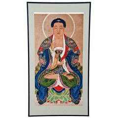 Temple Sized Mid Ching Dynasty Painting of Buddha
