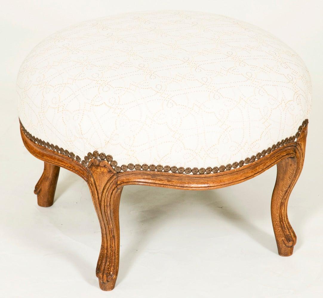 A  scarce and decorative Napoleon III  period walnut round stool, France circa 1850.