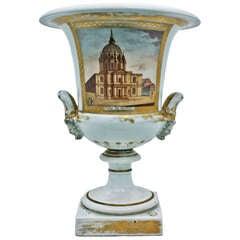 French Large Paris Porcelain Urn circa 1840 Les Invalides