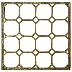Large 19th Century Cast Iron Grate with Later Geometric Mirror Plate, circa 1880