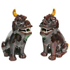 Large Pair of Aubergine Kylin Chinese Porcelain Dogs, circa 1920s-1930s
