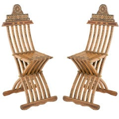 Pair of Inlaid Middle Eastern Chairs