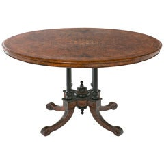 Victorian Inlaid Walnut Oval Loo Table, circa 1870