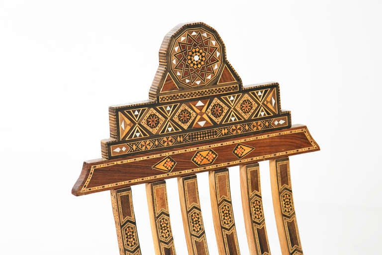 Pair Of Inlaid Middle Eastern Chairs 2