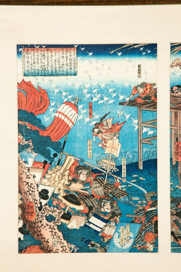Yoshitsuya Frog Battle Japanese Woodblock Triptych At 1stdibs