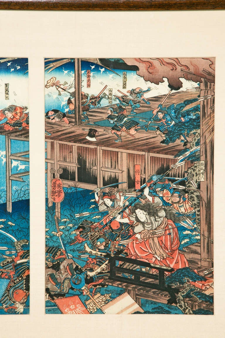 Yoshitsuya Frog Battle Japanese Woodblock Triptych At 1stdibs