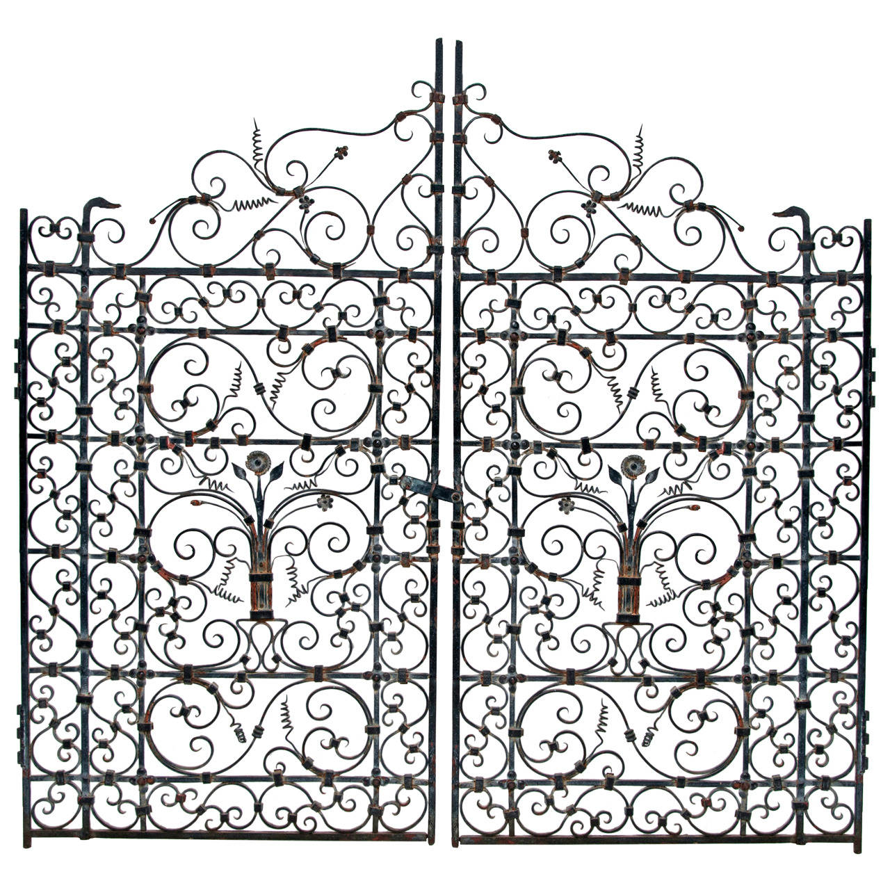 French or Spanish Wrought Iron Garden Gate circa 1820 at