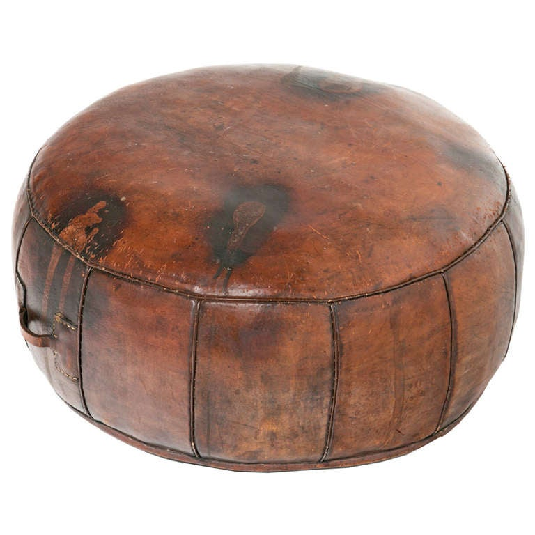 vintage leather ottoman at 1stdibs. Black Bedroom Furniture Sets. Home Design Ideas