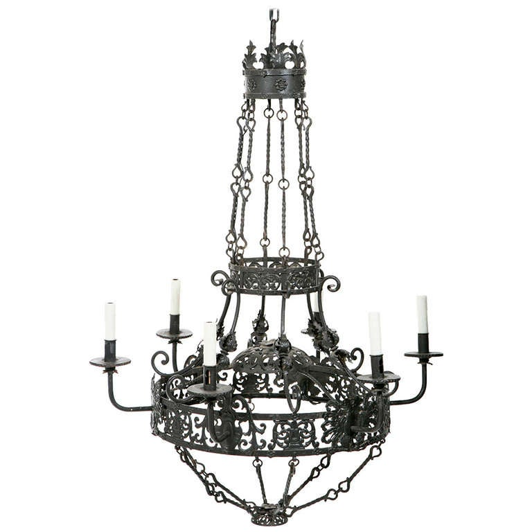 large chic 19th century spanish wrought iron chandelier at