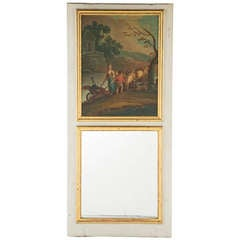 Gilt Trumeau Mirror with Painting, 70.25″ x 31.75″ France C 1820