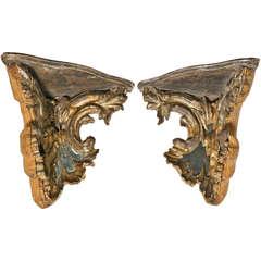 Pair of Venetian Mirrored and Gilt Corner Brackets, circa 1780
