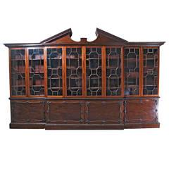Huge George III Style Mahogany Breakfront Bookcase, c. 1860