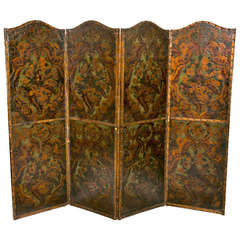 19th Century Spanish Tooled Gilt and Painted Four-Panel Screen