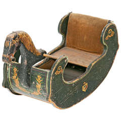 Early 19th Century English Rocking Horse or Sled, circa 1820, Old Paint
