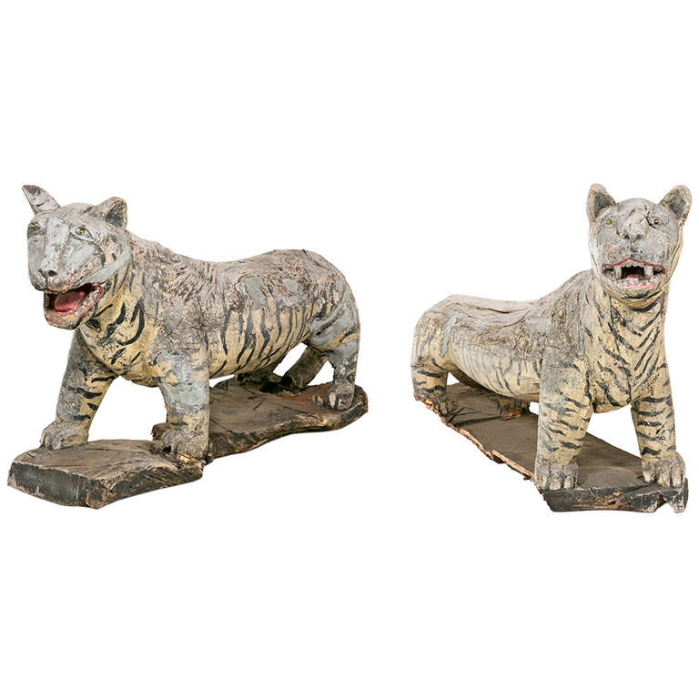 Rustic SE Asian Wooden Life Size Tigers