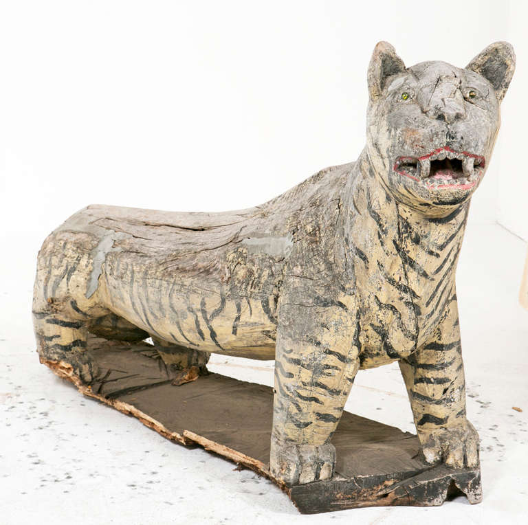 rustic se asian wooden life size tigers at 1stdibs