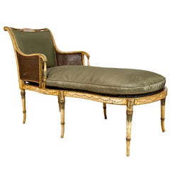 """Sheraton Painted Fainting Couch, """"Duchesse Brisee,"""" England, 1810"""