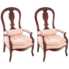 Pair of Red Lacquered French Arm Chairs