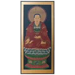 Large Ching Dynasty Painting of Buddha  China 1870