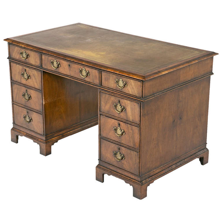 Late 19th century English Queen Anne Style Pedestal Desk - Large Queen Anne Style Executive Antique Style Partners Desk For