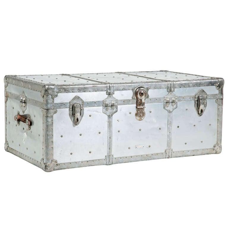 Vintage Metal Trunk For Sale