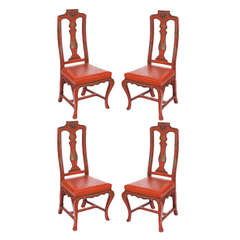 Four Vintage Red Italian Japanned Chairs, circa 1920