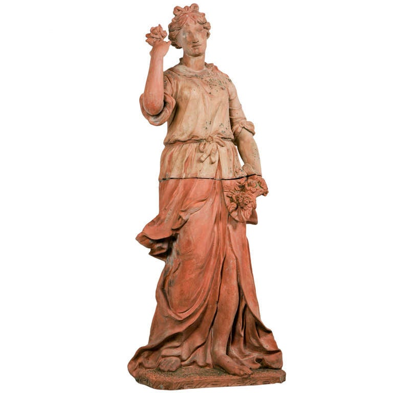 Life Size Italian Terra Cotta Statue Of Goddess Flora At
