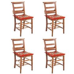 Set of Four Rustic Chairs with Tapestry Cushions c. 1840