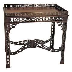 Fine Chippendale Style Mahogany Silver Table circa 1900