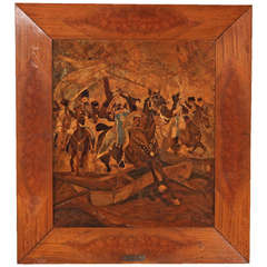 Large Beautiful Parquetry Equestrian Panel