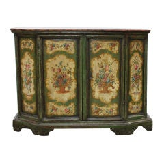 18th century Green Lacquered Venetian Credenza / Cabinet