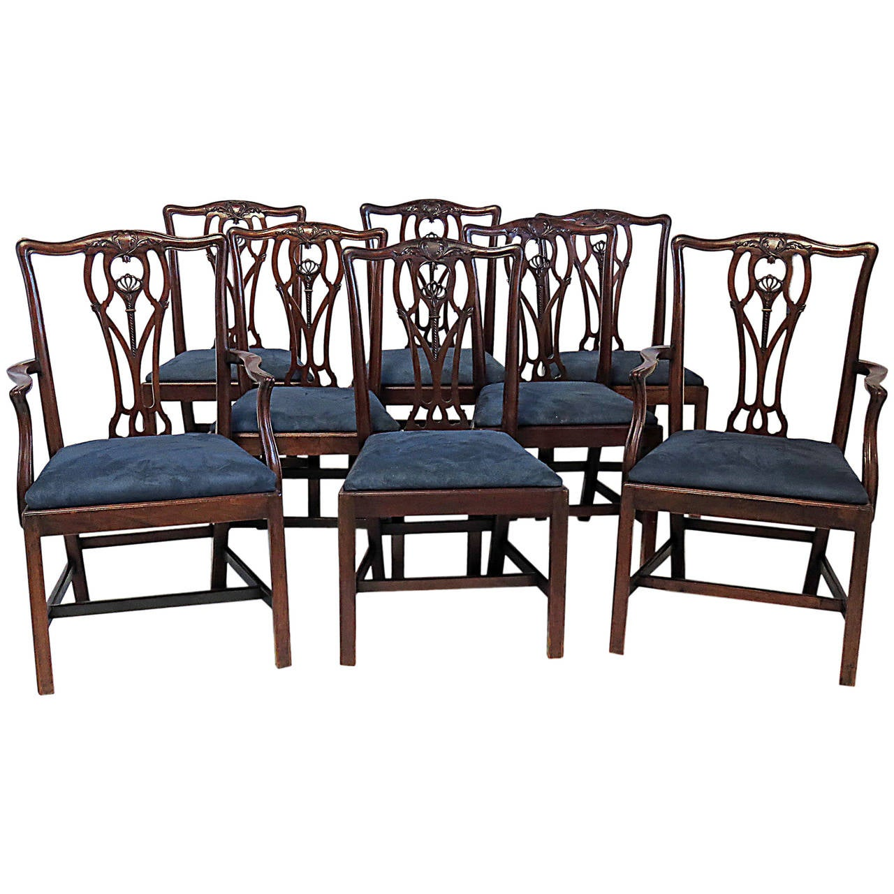 Eight chippendale style mahogany dining chairs circa 1880 for Mahogany dining room furniture