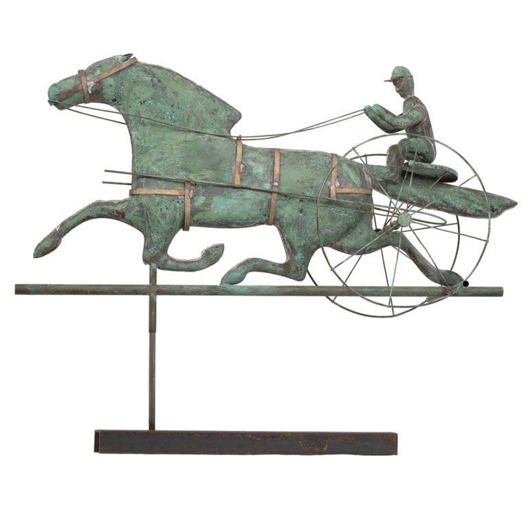 Vintage Weather Vane: Vintage Weathervane Depicting A Horse Carriage Race C.1920
