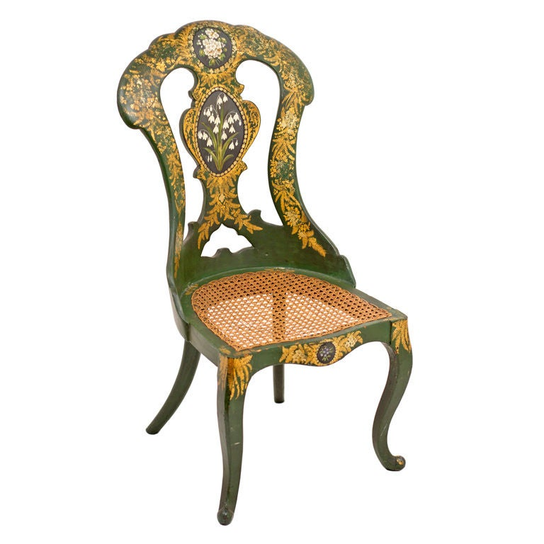 green lacquered and gilt papier mache childs chair at 1stdibs