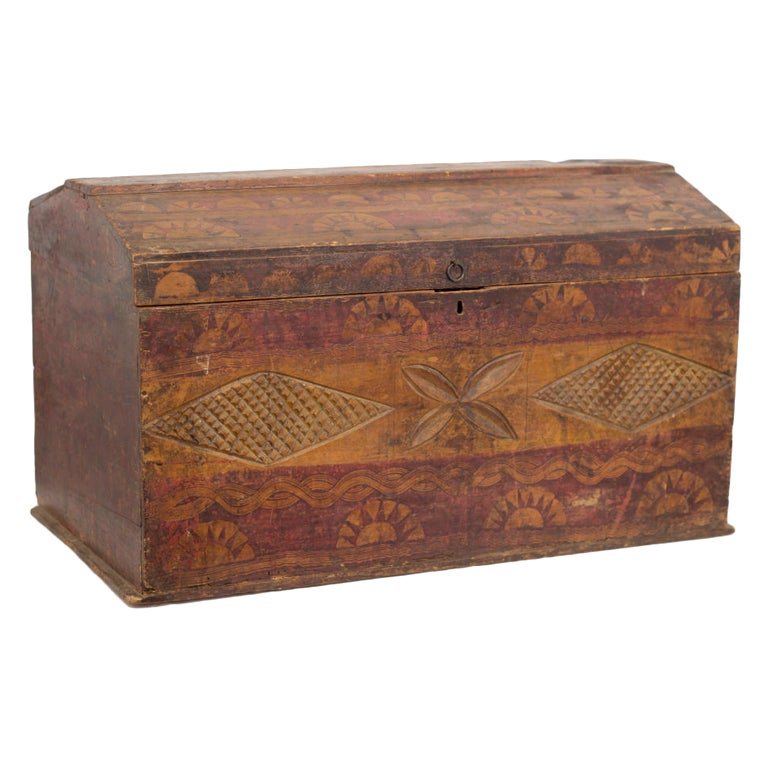 Old carved and painted trunk at 1stdibs - How to paint an old trunk ...