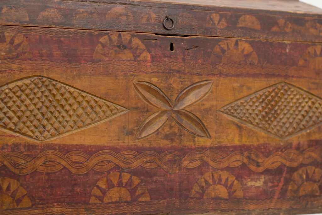 Old Carved & Painted Trunk image 3