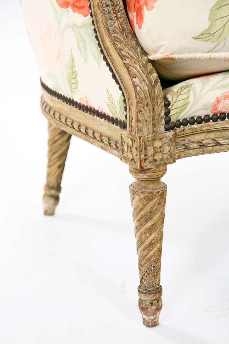 Fantastic Carved French Painted Armchair / Bergere 10