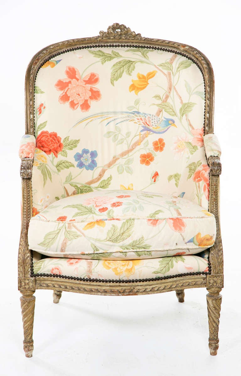 Fantastic Carved French Painted Armchair / Bergere 4
