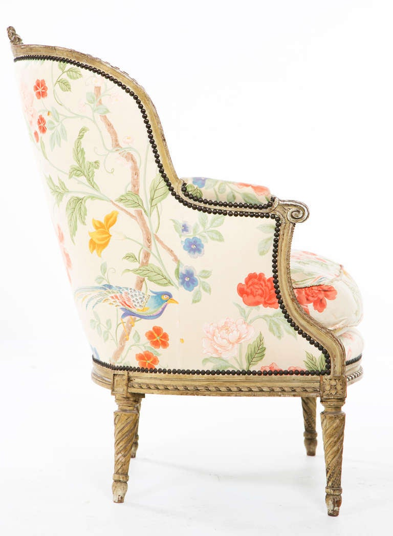 Fantastic Carved French Painted Armchair / Bergere 5