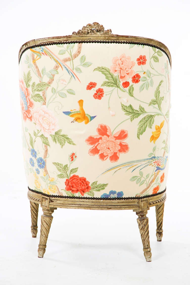 Fantastic Carved French Painted Armchair / Bergere 6