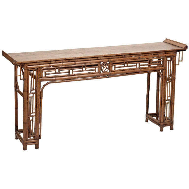 Antique elm and bamboo altar table china early 19th for Antique chinese tables for sale