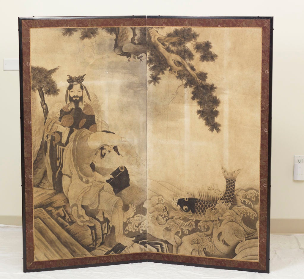 Antique Japanese Screens For Sale -  good luck fisherman japanese screen circa 1890 2