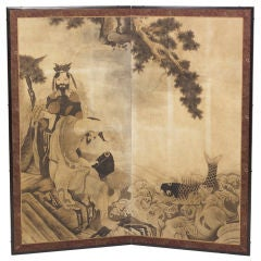 'Good Luck Fisherman' Japanese Screen, circa 1890